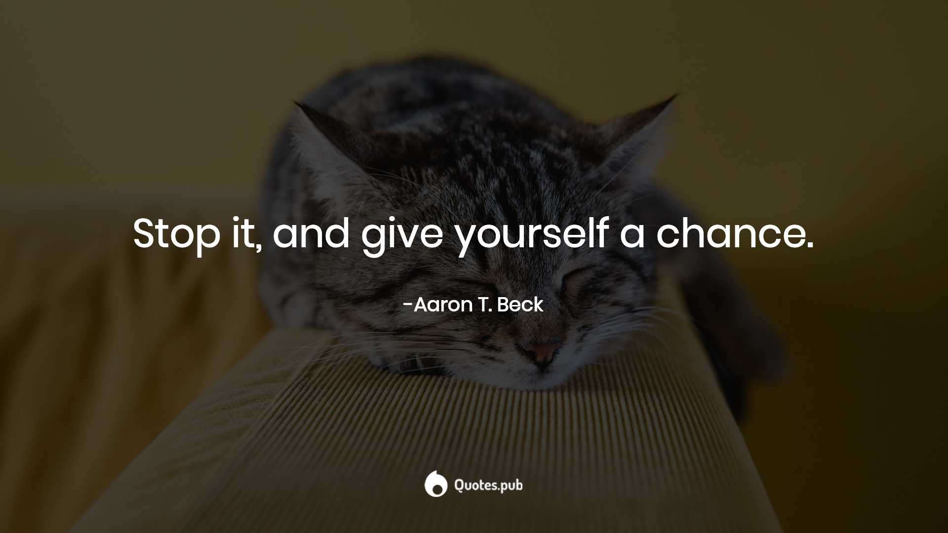 Stop It And Give Yourself A Chance Aaron T Beck Quotespub